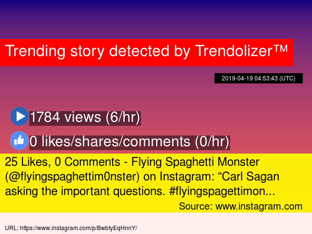 25 Likes, 0 Comments - Flying Spaghetti Monster